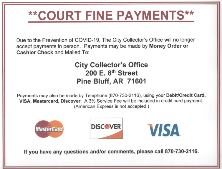 City Collector Payment Changes