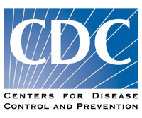 White and blue logo inscribed with CDC