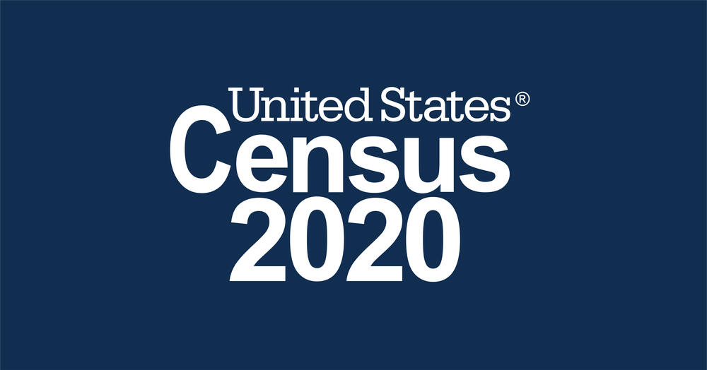 Blue background with white font reading United States Census 2020
